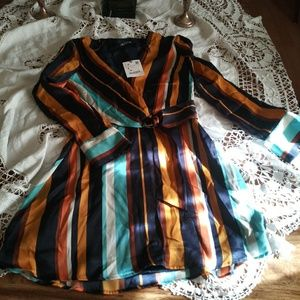 Zara satin alike wrapped colorful dress
